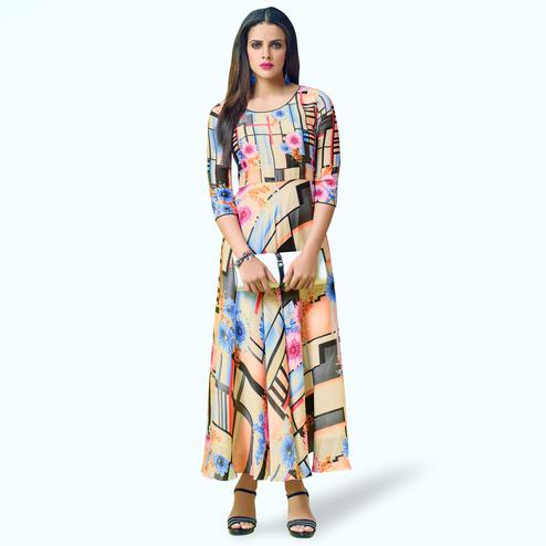 Exotic Beige Colored Partywear Printed Georgette Satin Kurti