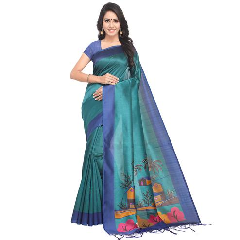 Gorgeous Teal Blue Colored Casual Printed Mysore Silk Saree