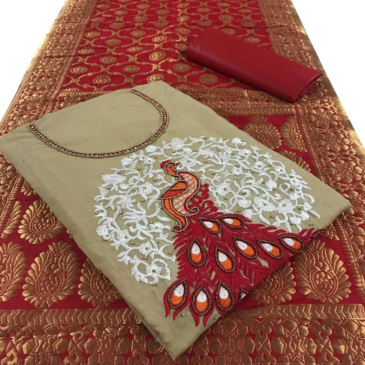 Magnetic Beige Colored Embroidered Party Wear Chanderi Silk Dress Material