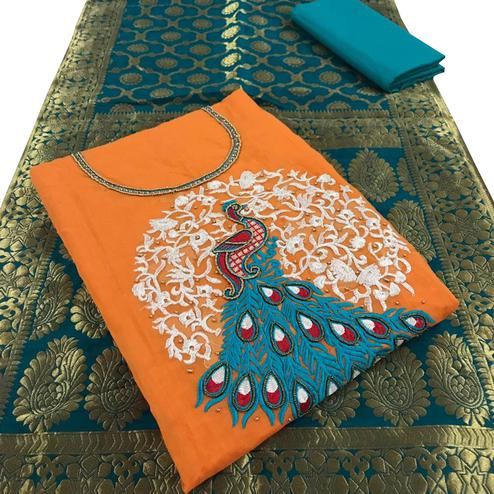 Hypnotic Orange Colored Embroidered Party Wear Chanderi Silk Dress Material