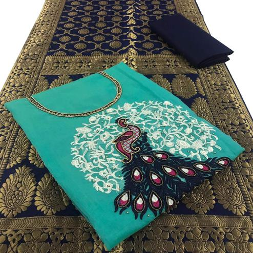 Flattering Sky Blue Colored Embroidered Party Wear Chanderi Silk Dress Material