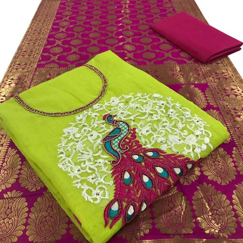 Excellent Green Colored Embroidered Party Wear Chanderi Silk Dress Material