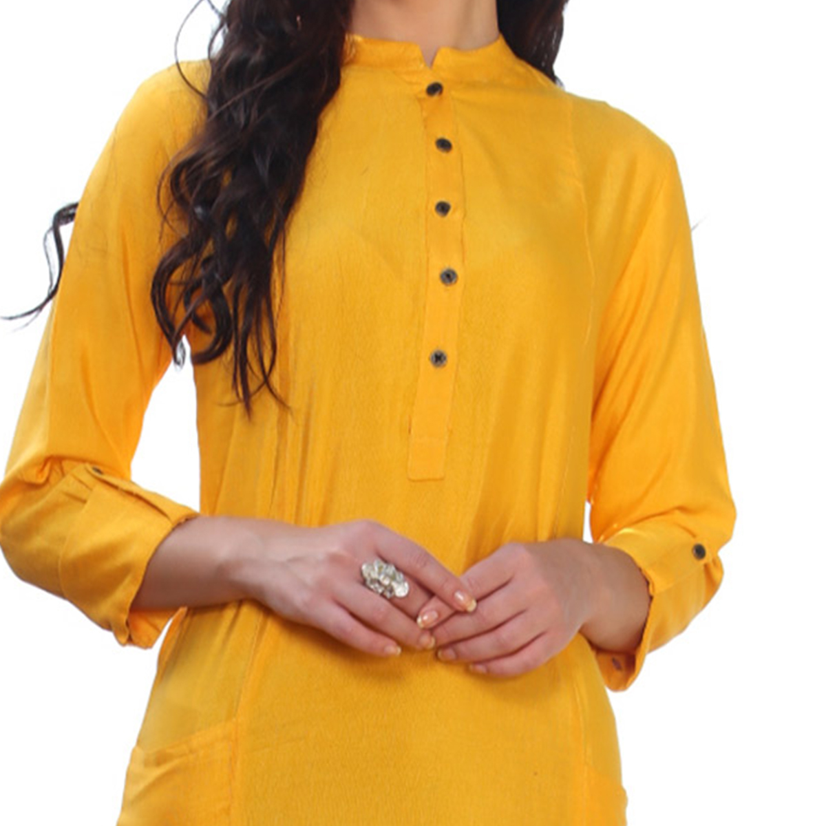 Delightful Yellow Blue Designer Casual Rayon Kurti