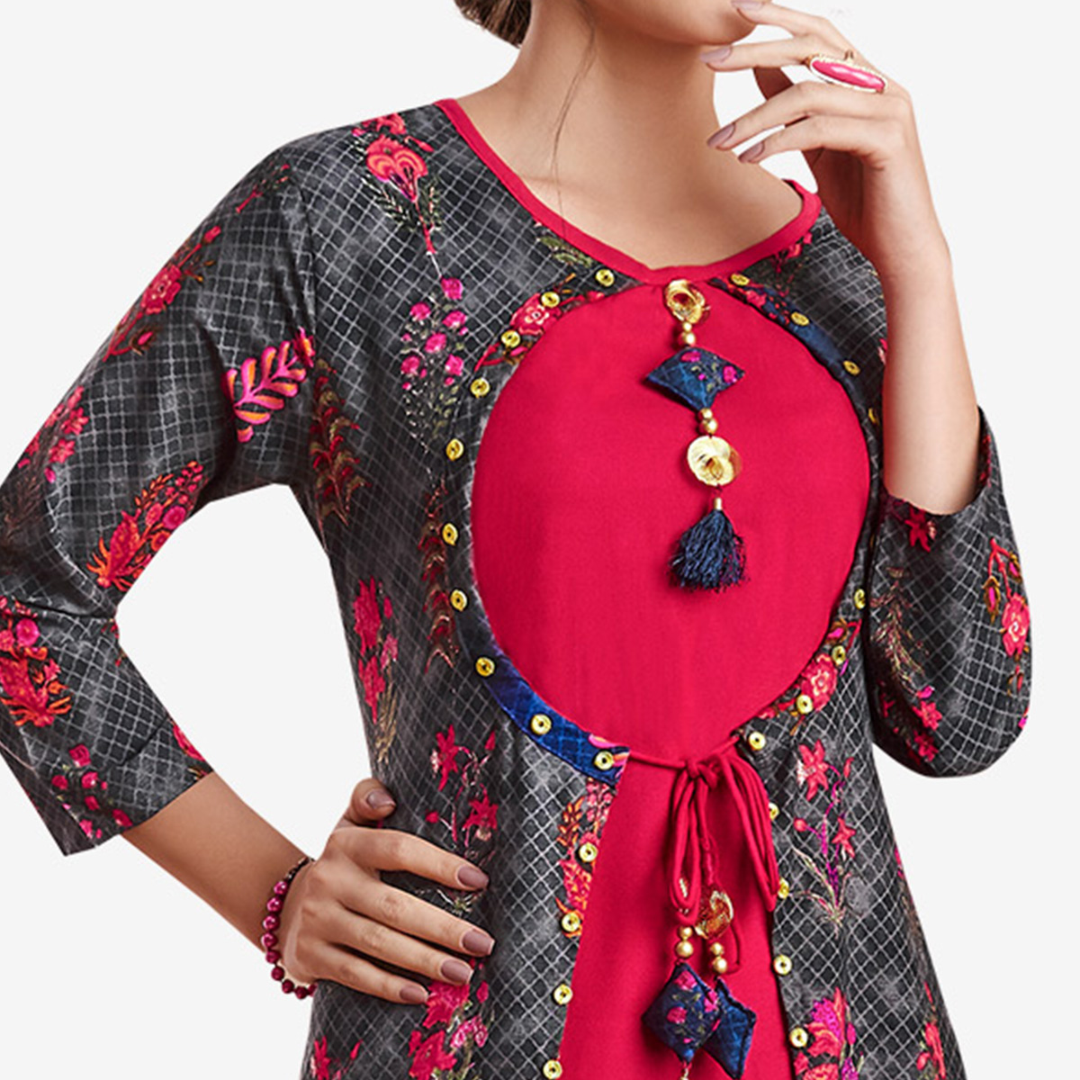 Delightful Pink-Black Colored Partywear Printed Rayon Kurti