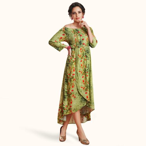 Engrossing Green Colored Partywear Printed Rayon Kurti