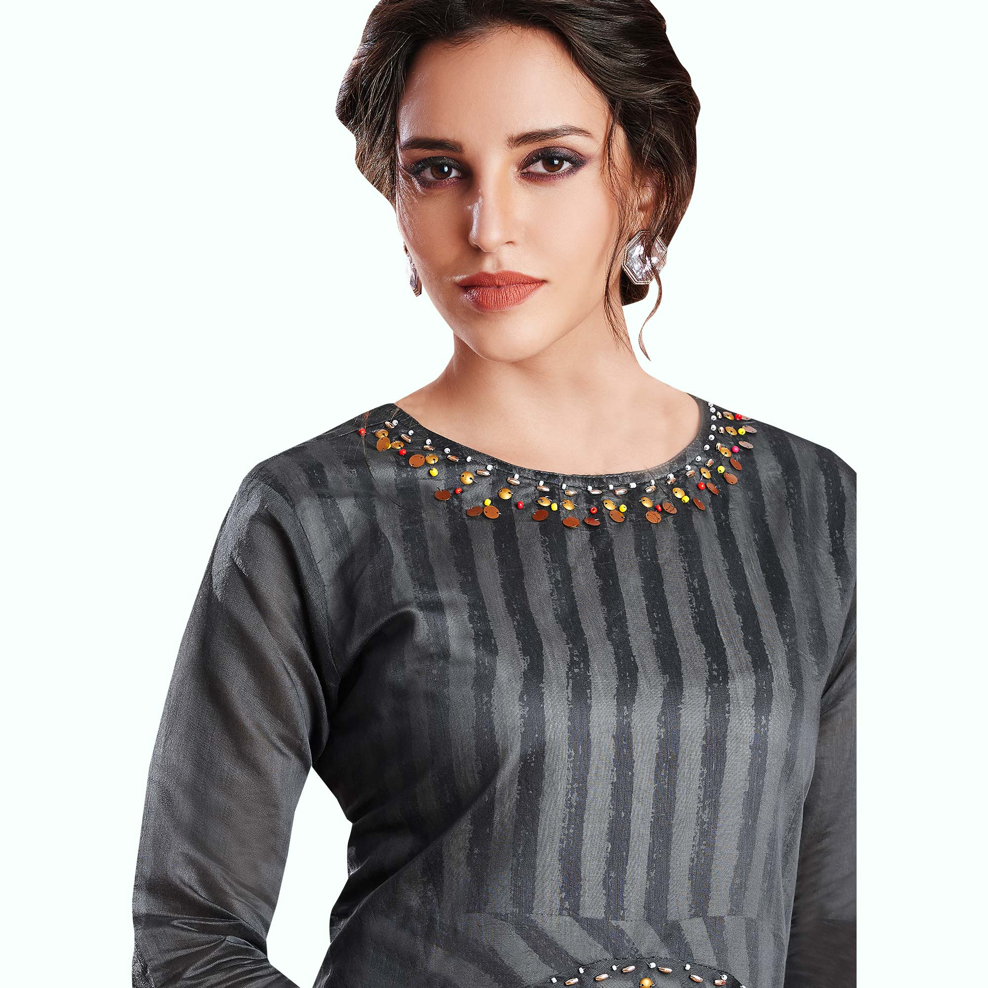 Captivating Gray-Black Colored Partywear Printed Rayon Kurti