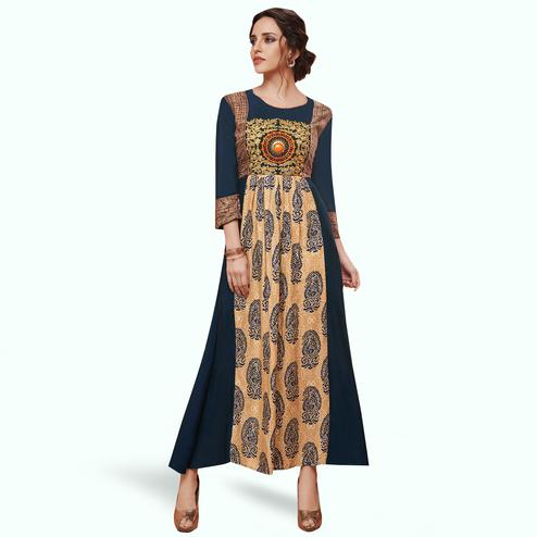 Eye-catching Blue-Beige Colored Partywear Embroidered Rayon Kurti