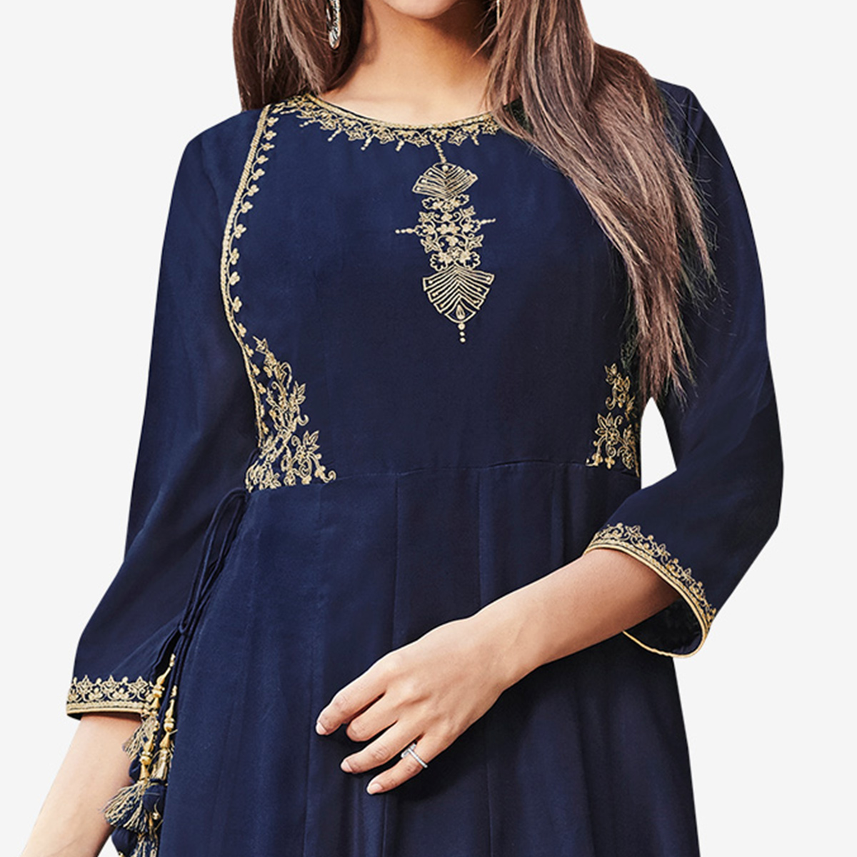 Sensational Navy Blue Colored Partywear Embroidered Silk Gown