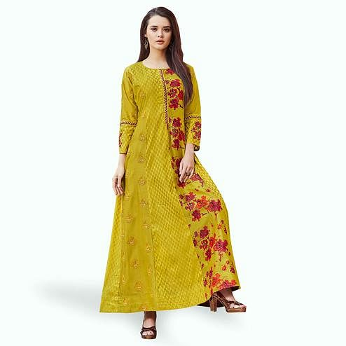 Flaunt Golden-Green Colored Partywear Embroidered Cotton Gown