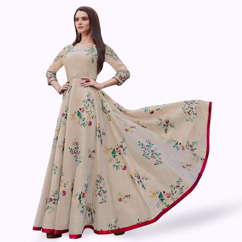 Stunning Beige Colored Partywear Embroidered Modal Silk Gown