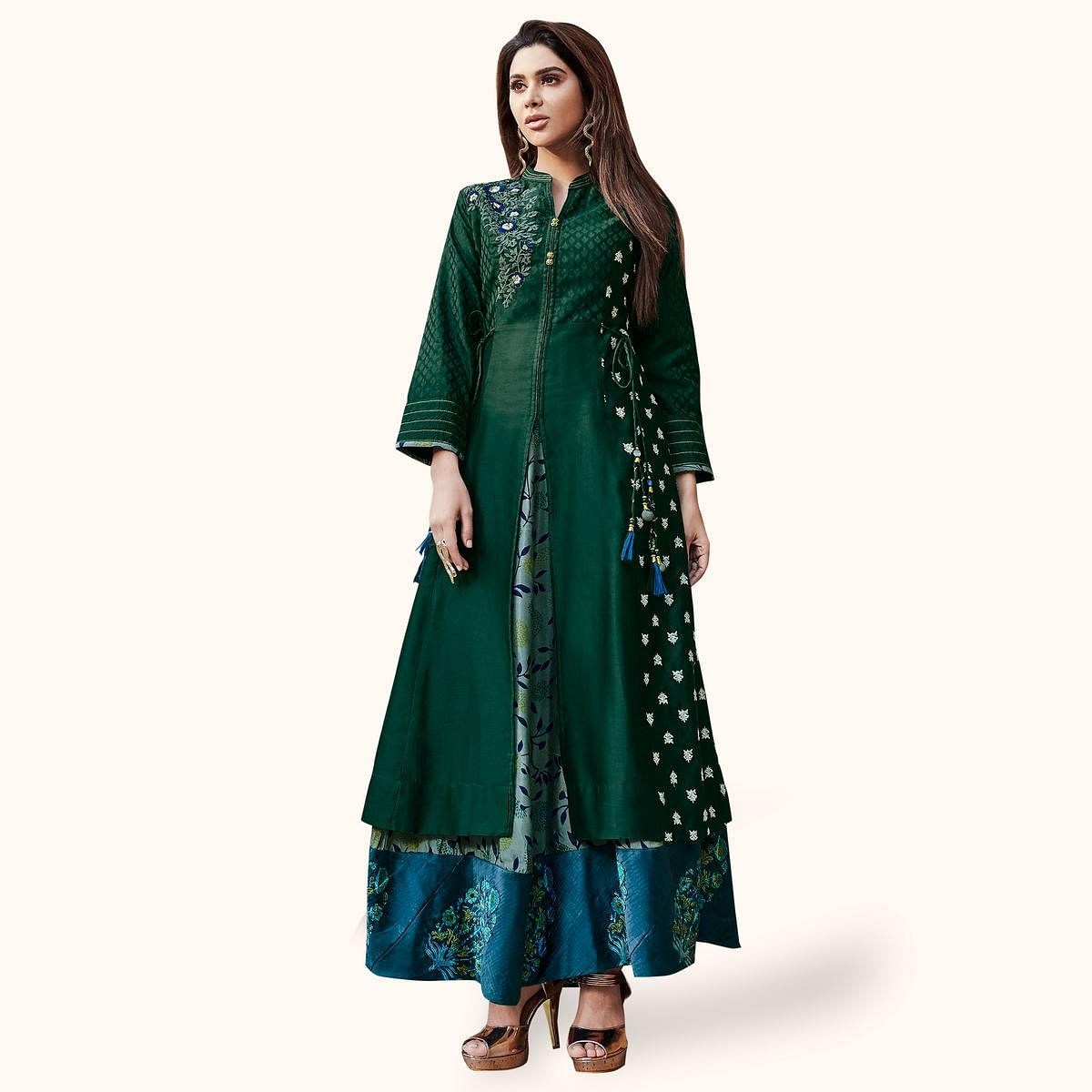 Flirty Green Colored Partywear Embroidered Cotton Gown