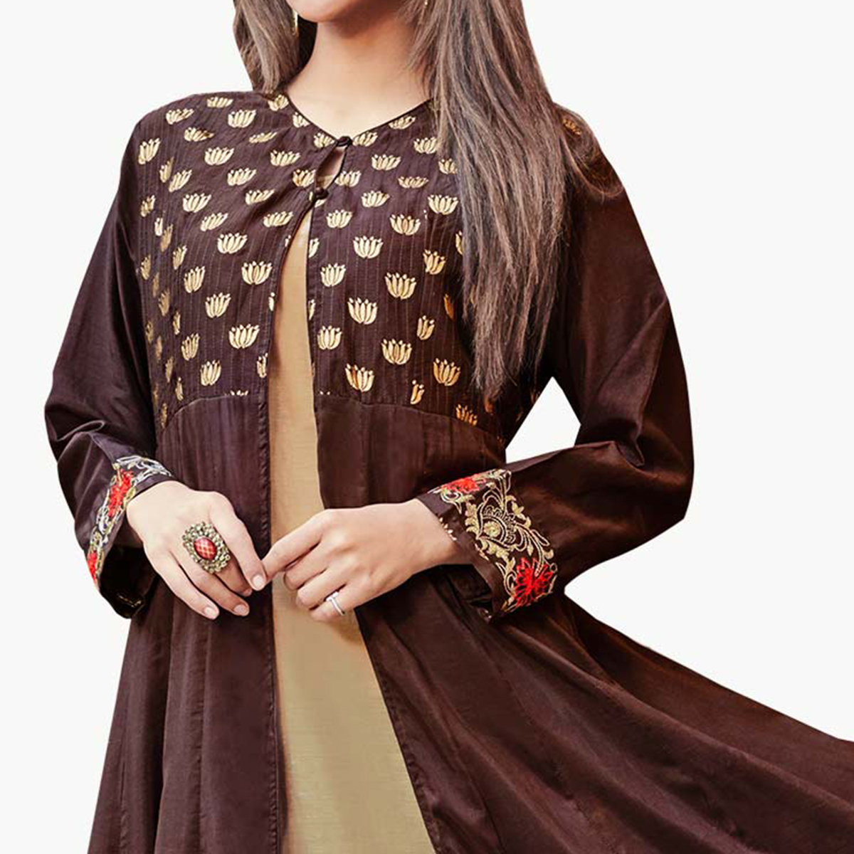 Capricious Brown-Beige Colored Partywear Embroidered Silk Gown