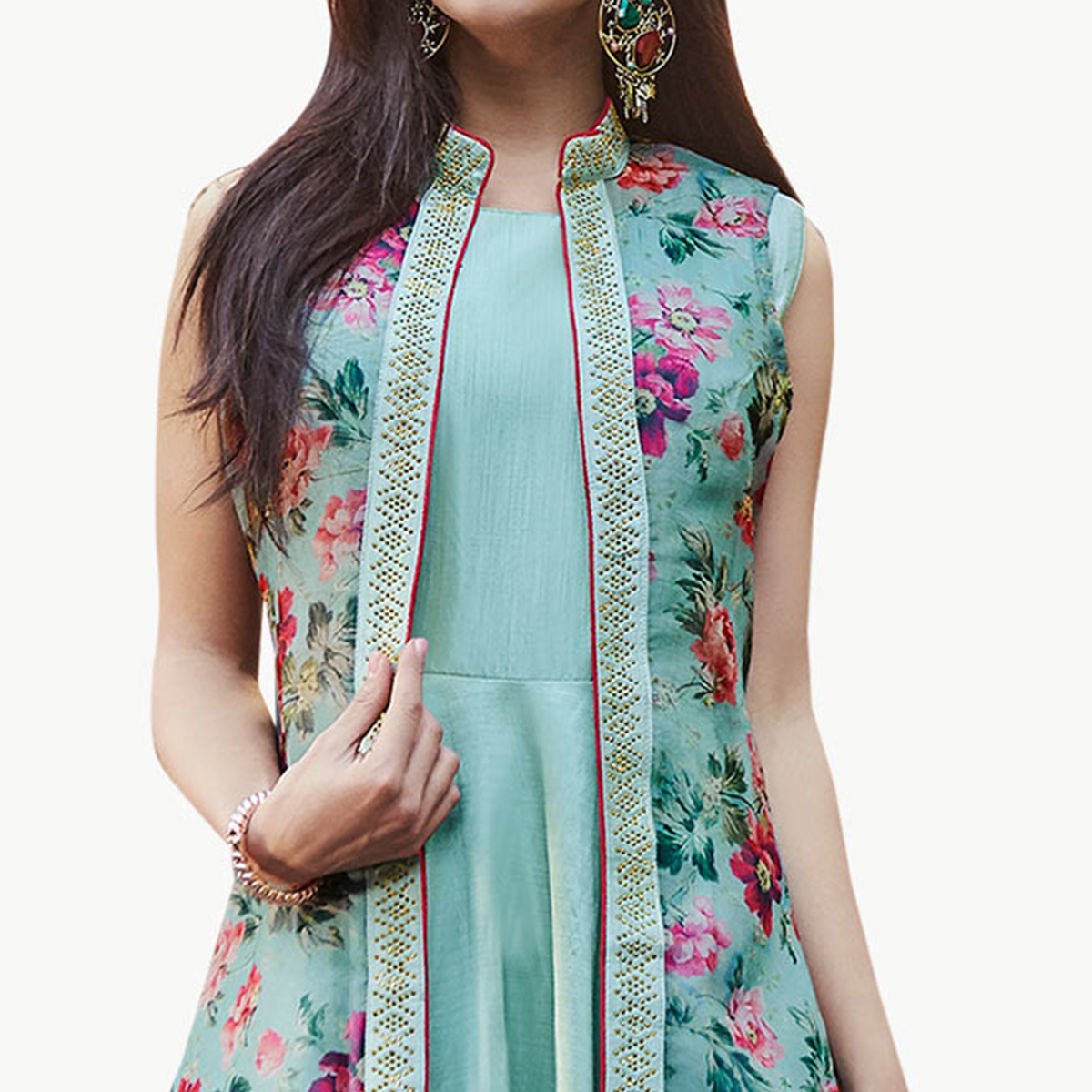 Entrancing Aqua Blue Colored Partywear Printed Silk Gown