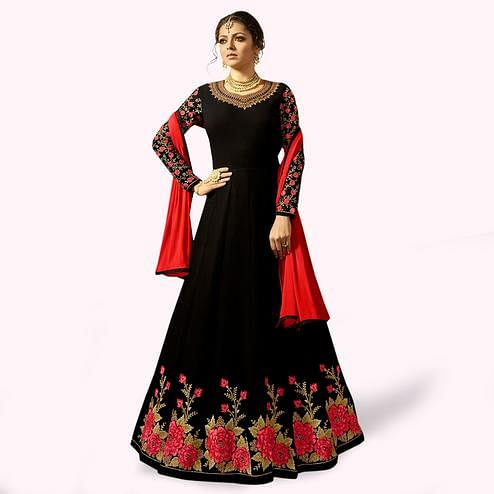 Elegant Black Colored Partywear Embroidered Georgette Anarkali Suit