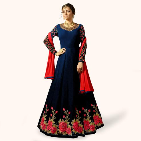 Radiant Navy Blue Colored Partywear Embroidered Georgette Anarkali Suit