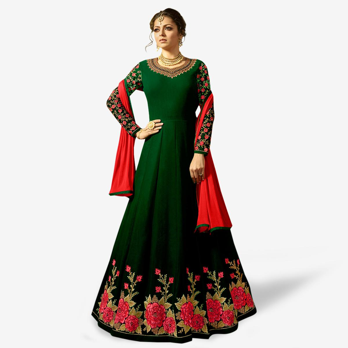 Pleasant Green Colored Partywear Embroidered Georgette Anarkali Suit