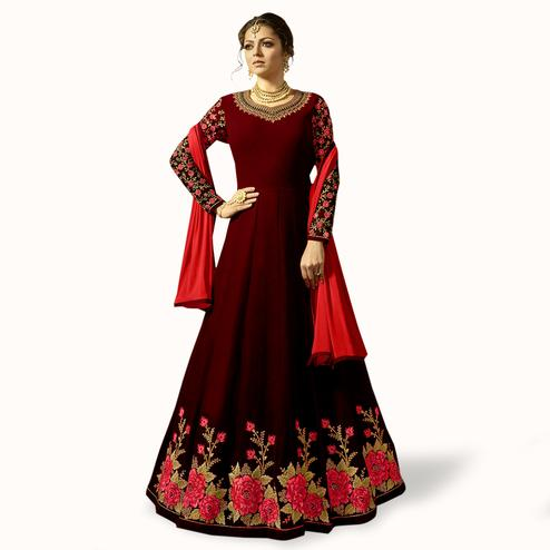 Opulent Maroon Colored Partywear Embroidered Georgette Anarkali Suit