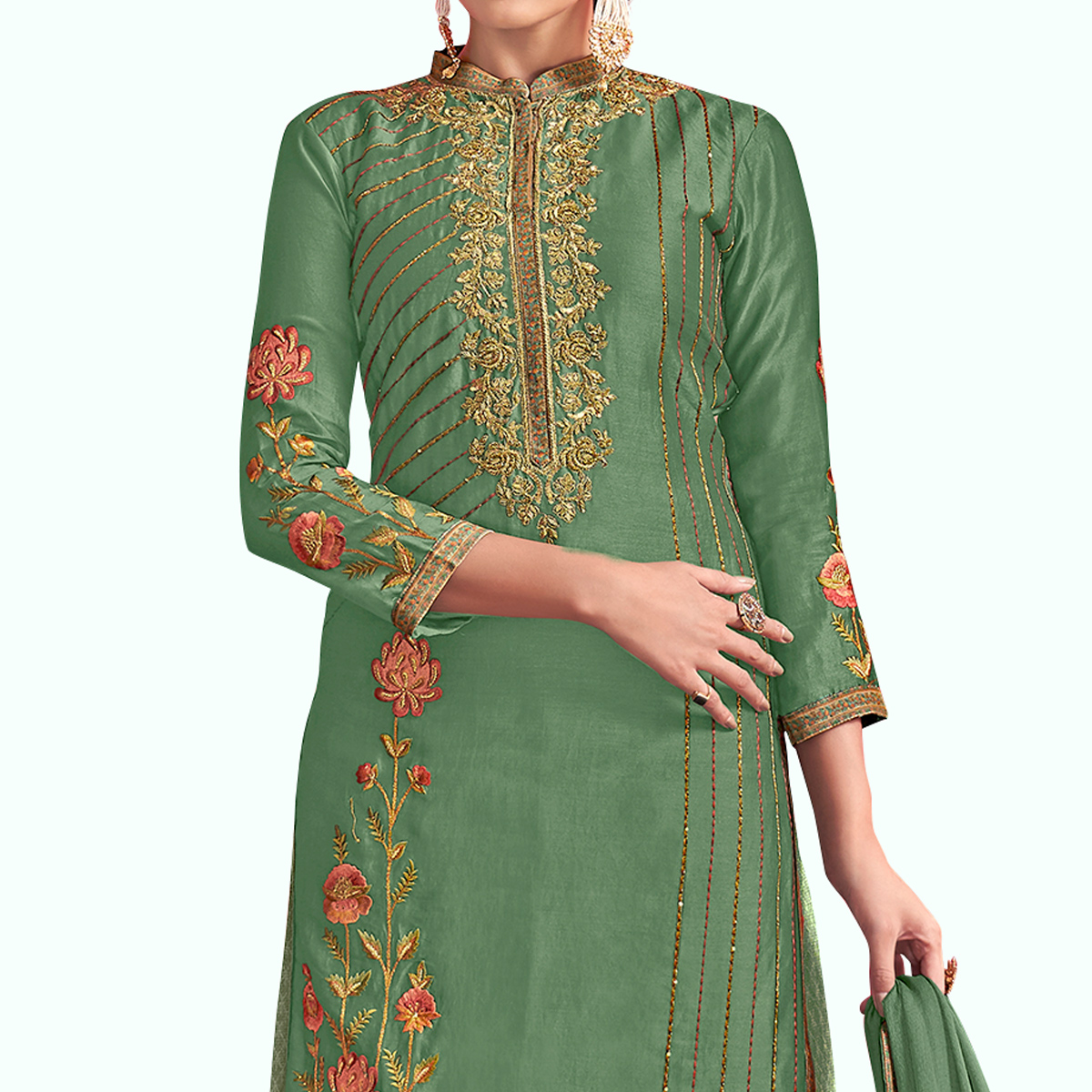 Radiant Green Colored Party Wear Embroidered Georgette Palazzo Suit