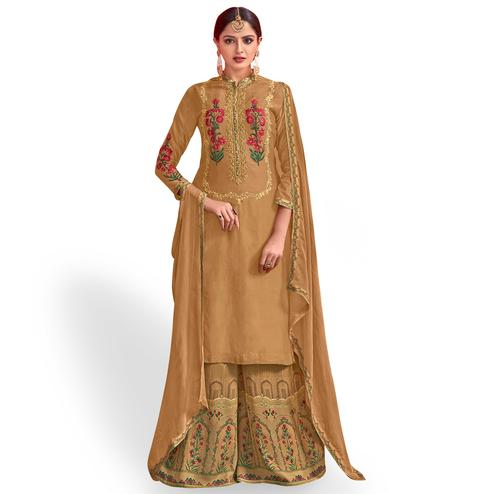 Pleasant Light Brown Colored Party Wear Embroidered Georgette Palazzo Suit