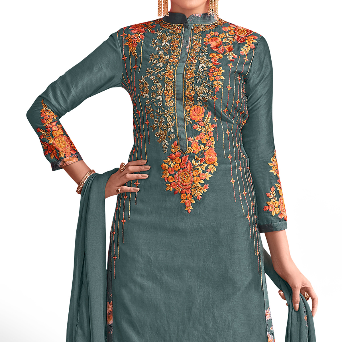 Opulent Bluish Gray Colored Party Wear Embroidered Georgette Palazzo Suit