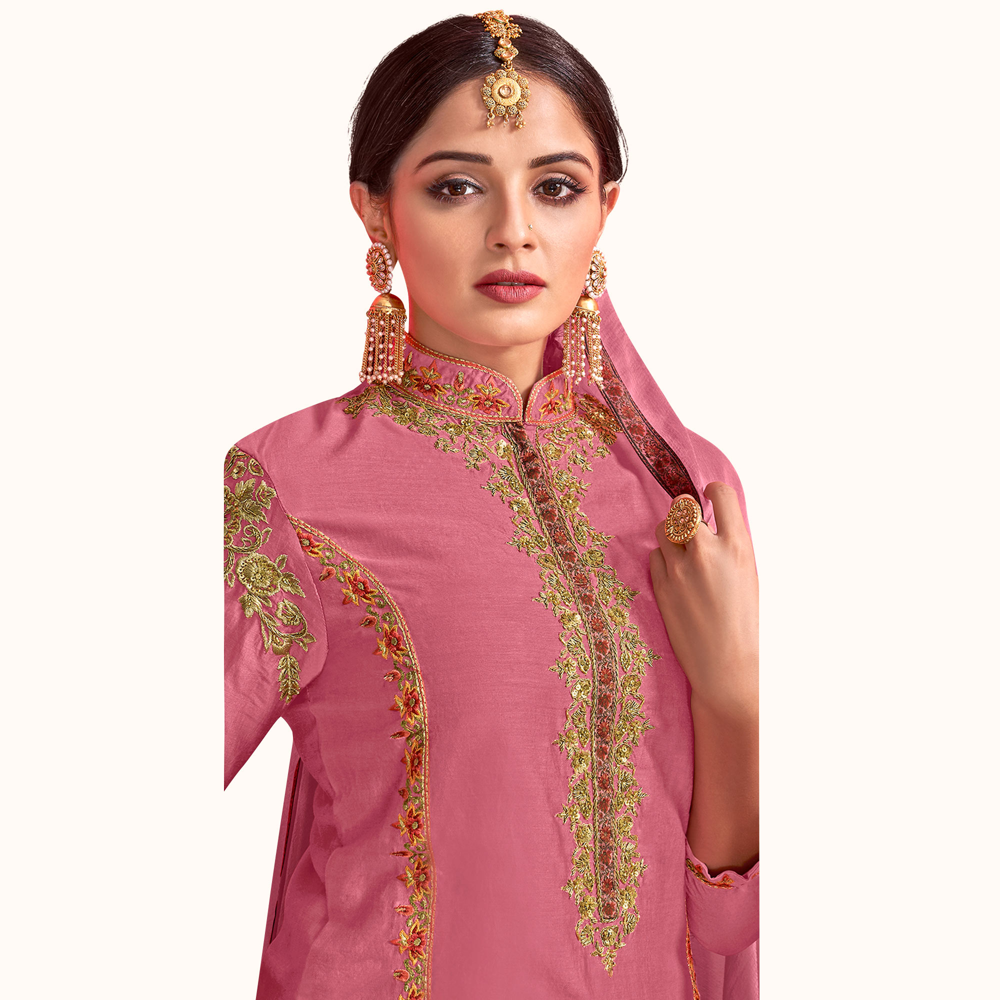 Energetic Pink Colored Party Wear Embroidered Georgette Palazzo Suit