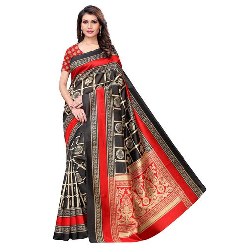 Demanding Black Colored Casual Wear Printed Art Silk Saree