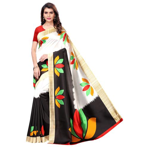 Magnetic White - Black Colored Casual Wear Printed Art Silk Saree