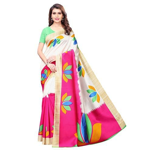Hypnotic White - Pink Colored Casual Wear Printed Art Silk Saree