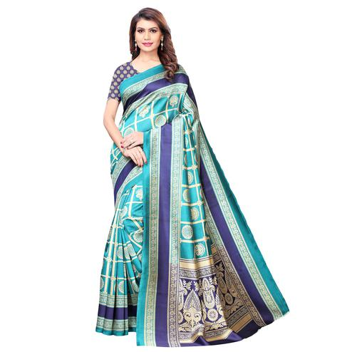 Flattering Sky Blue Colored Casual Wear Printed Art Silk Saree