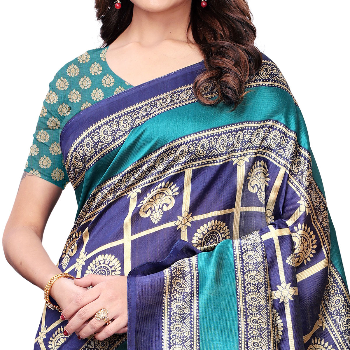 Excellent Navy Blue Colored Casual Wear Printed Art Silk Saree