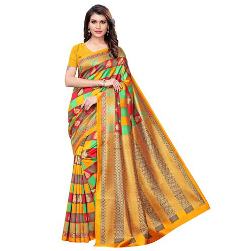 Preferable Yellow - Multi Colored Casual Wear Printed Art Silk Saree