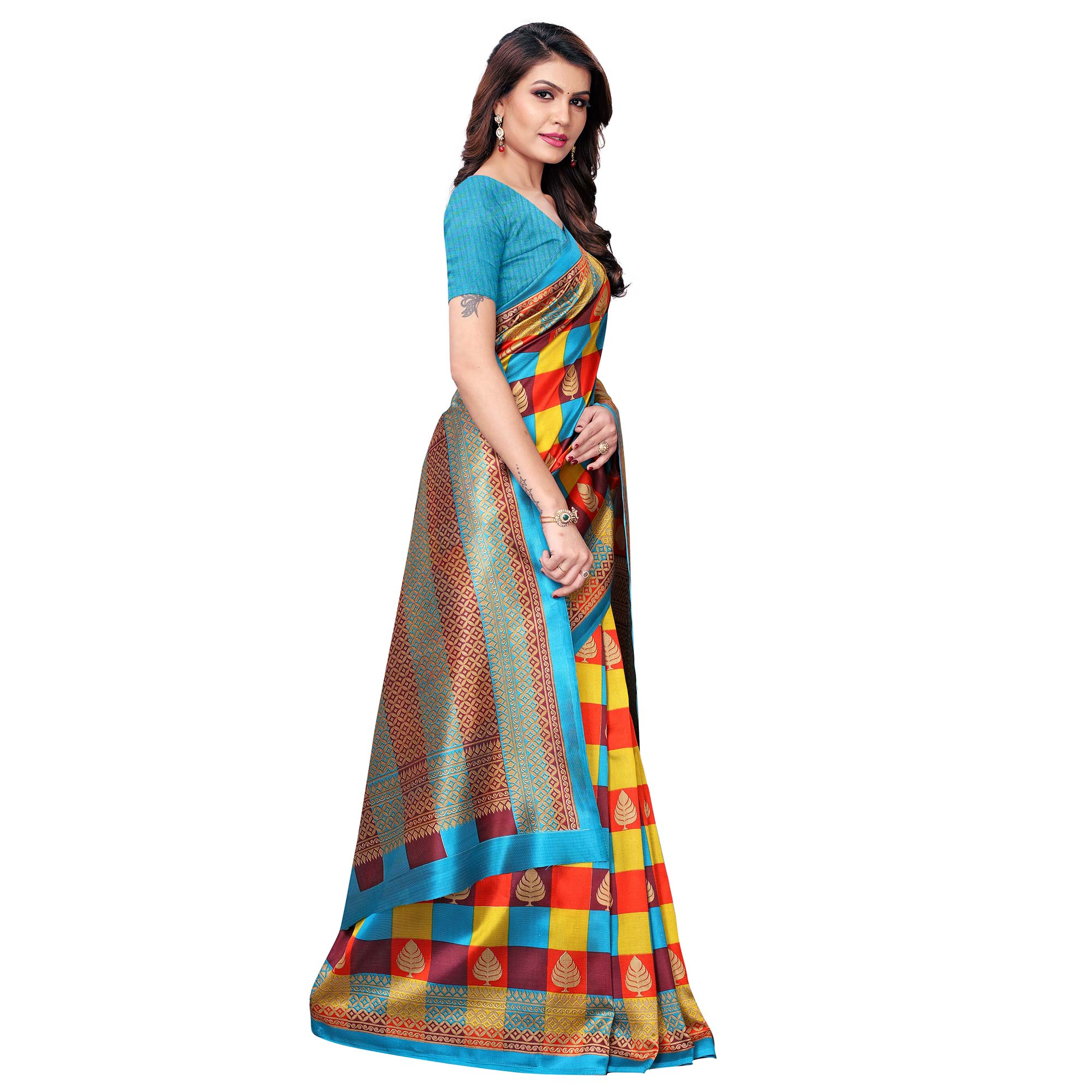 Marvellous Blue - Multi Colored Casual Wear Printed Art Silk Saree