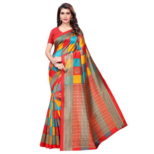 Flamboyant Red - Multi Colored Casual Wear Printed Art Silk Saree