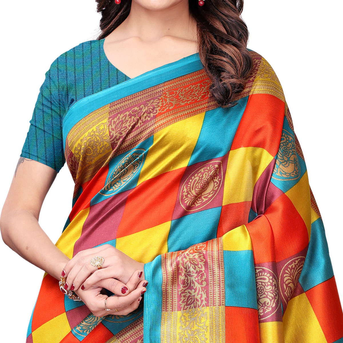 Pretty Sky Blue - Multi Colored Casual Wear Printed Art Silk Saree