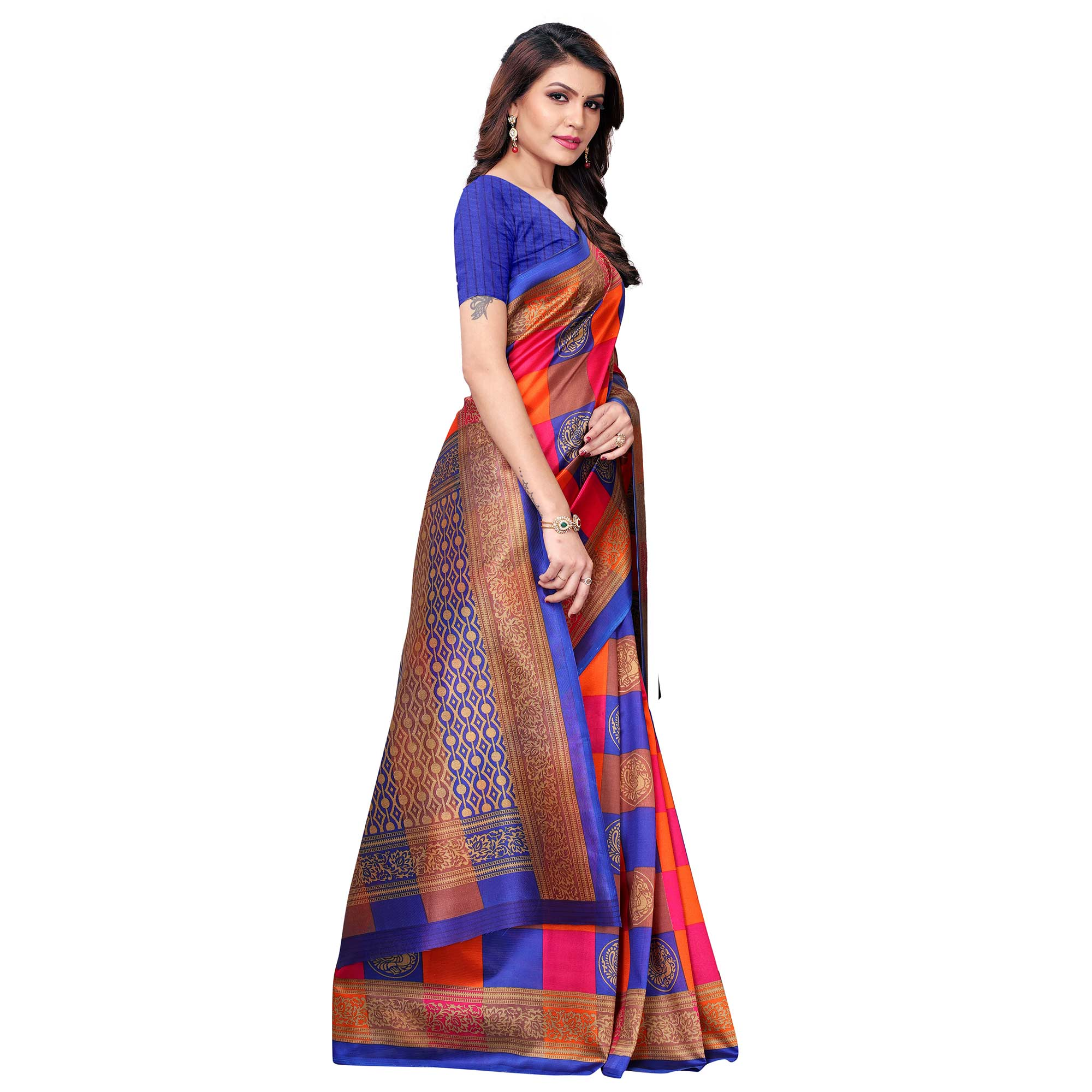 Alluring Blue - Multi Colored Casual Wear Printed Art Silk Saree
