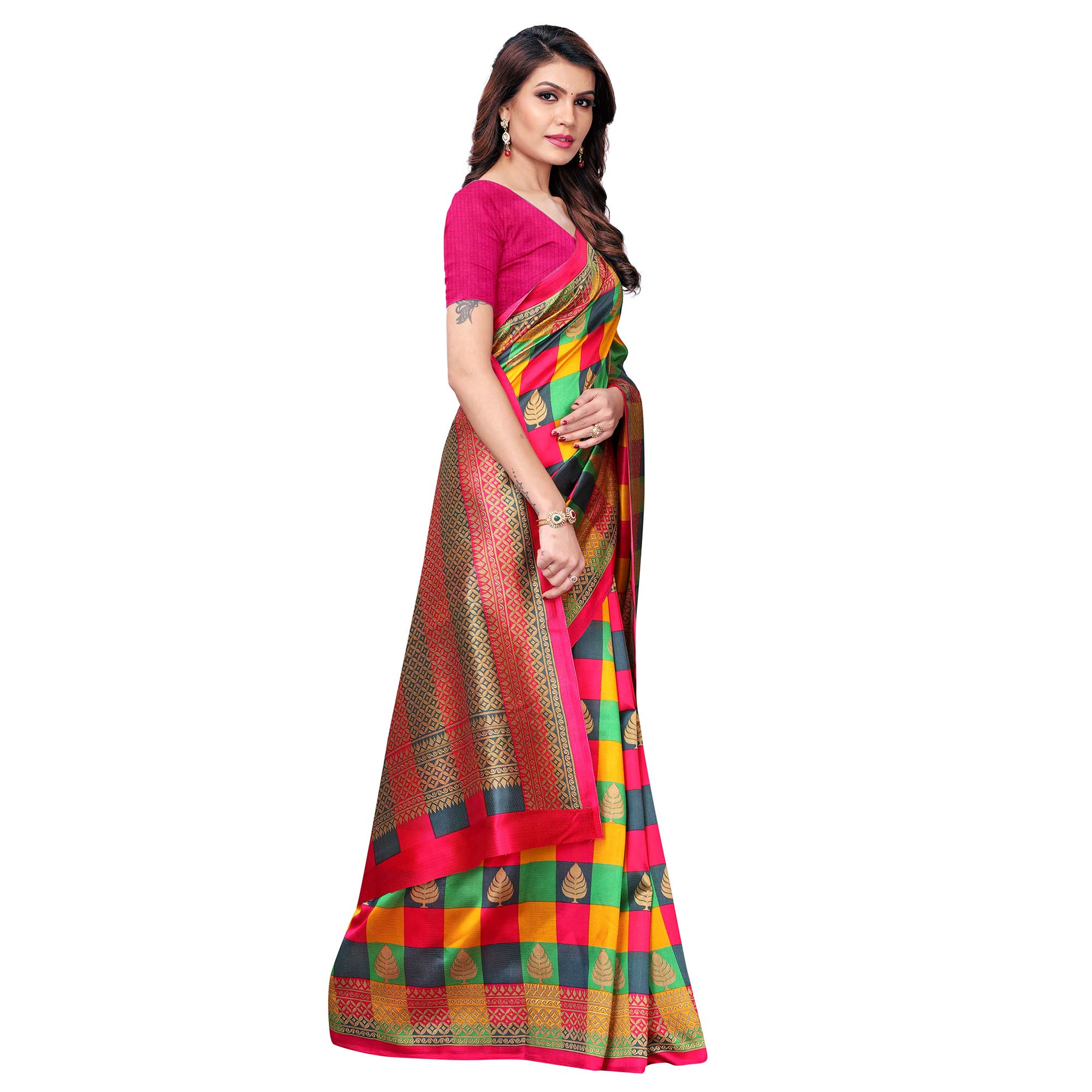 Sensational Pink - Multi Colored Casual Wear Printed Art Silk Saree