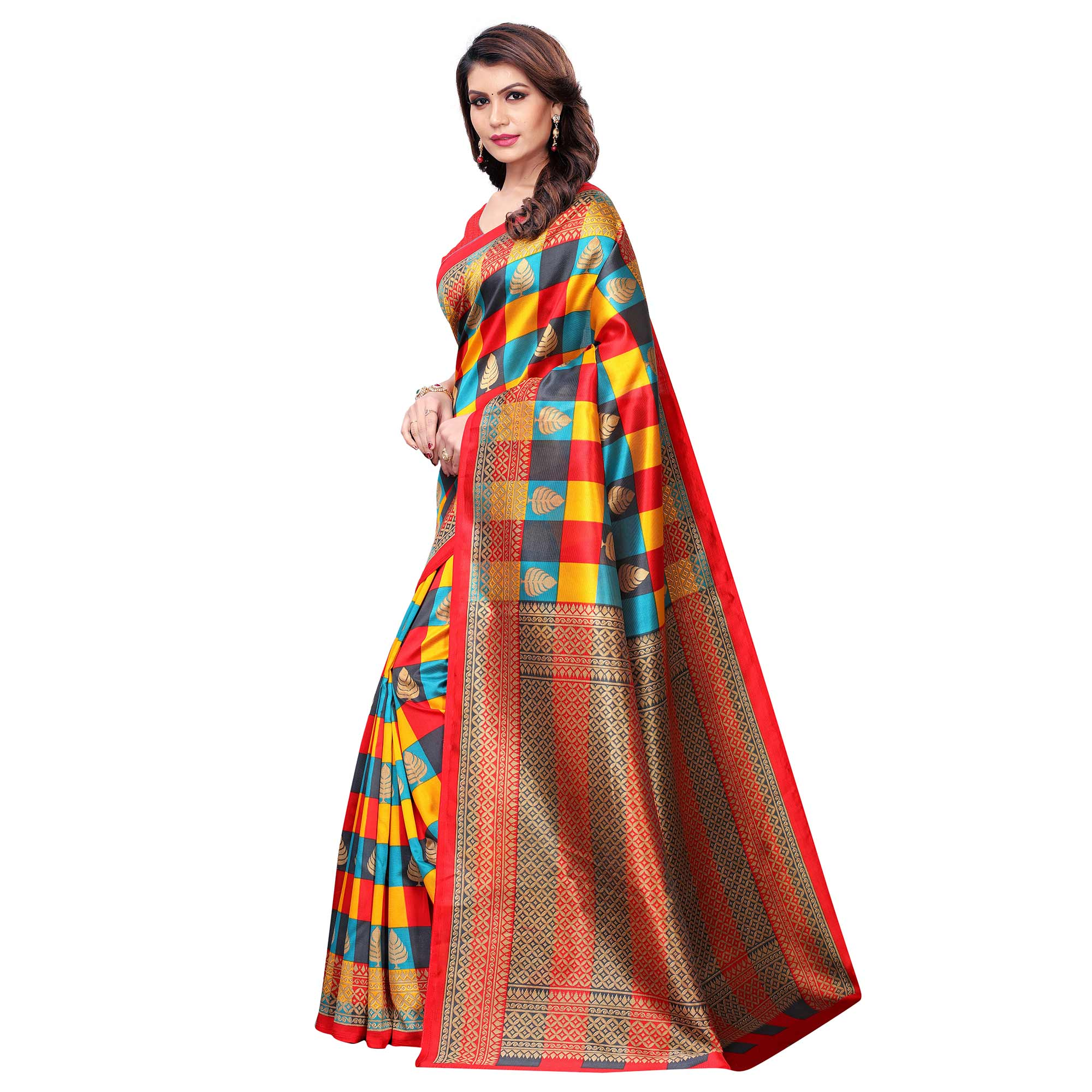 Flaunt Red - Multi Colored Casual Wear Printed Art Silk Saree