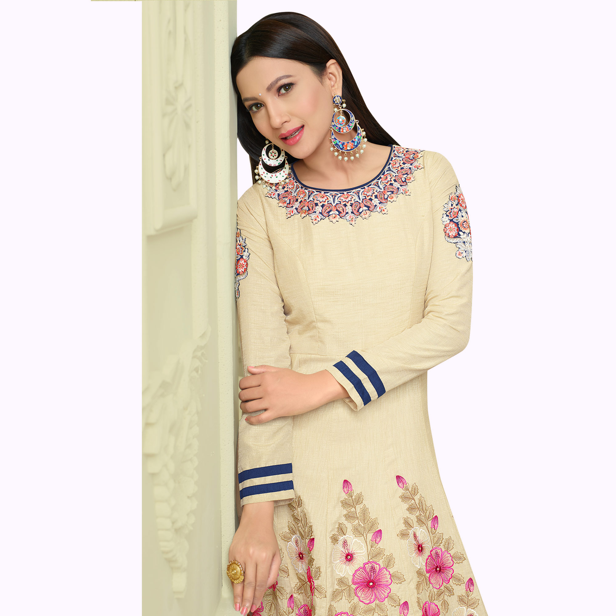 Elegant Cream Colored Partywear Embroidered Mulberry Silk Anarkali Suit