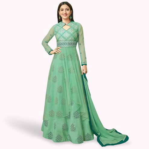 Graceful Green Colored Partywear Embroidered Mulberry Silk Anarkali Suit