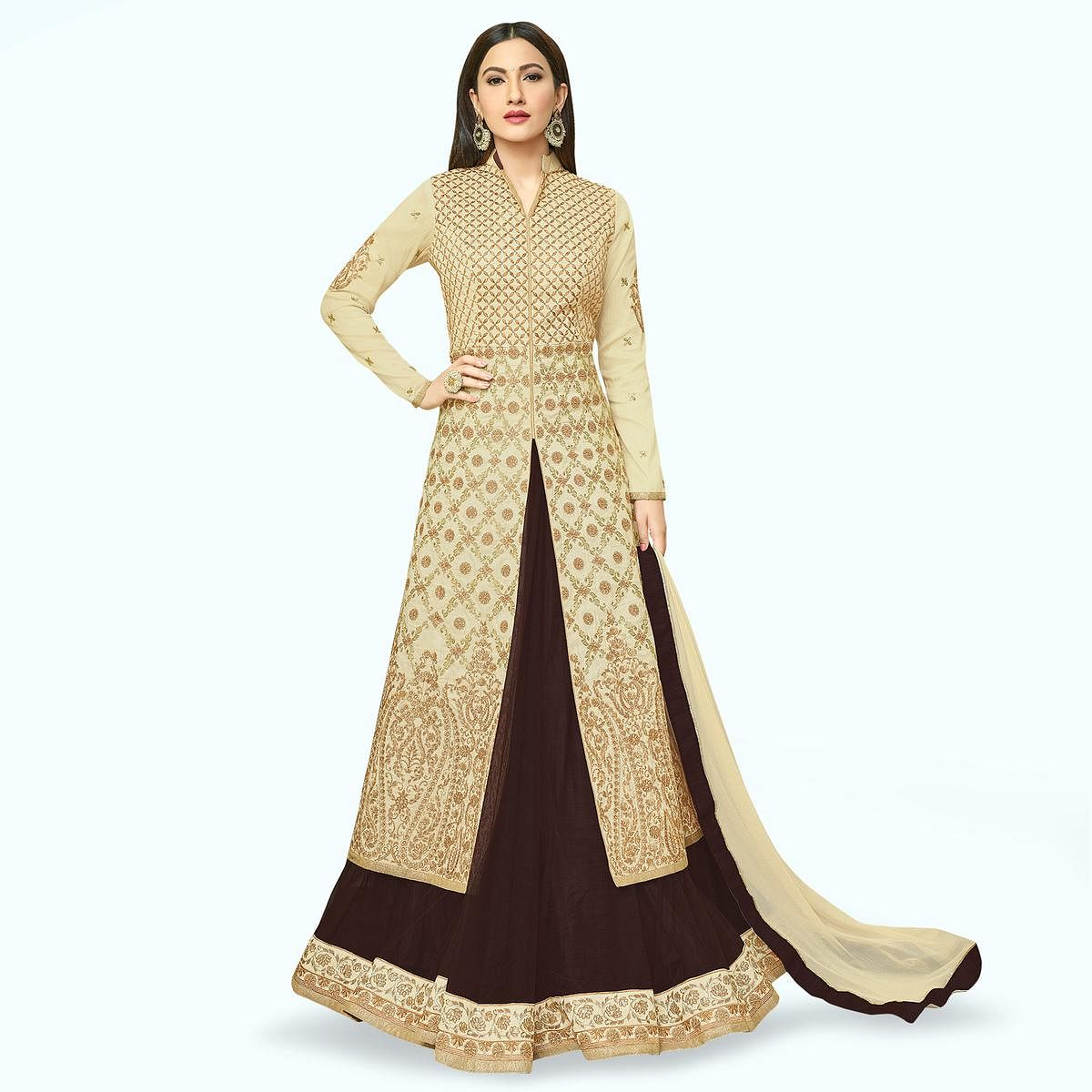 Classy Beige Colored Partywear Embroidered Mulberry Silk Lehenga Kameez
