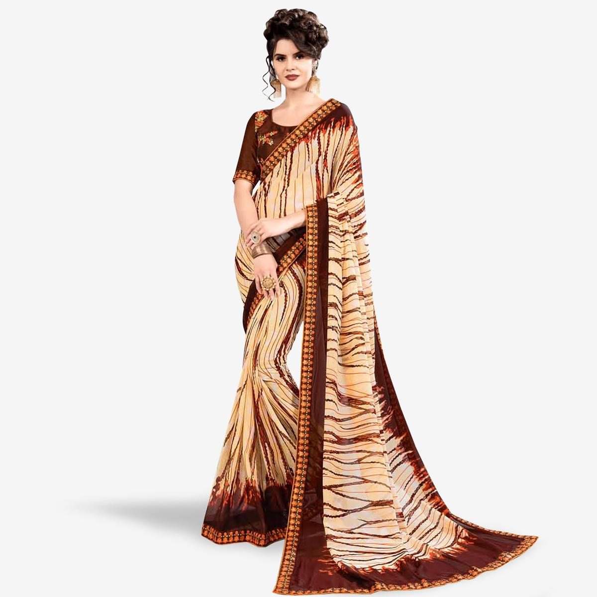 Trendy Beige-Brown Colored Partywear Printed Georgette Saree