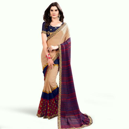Radiant Beige-Blue Colored Partywear Printed Georgette Saree