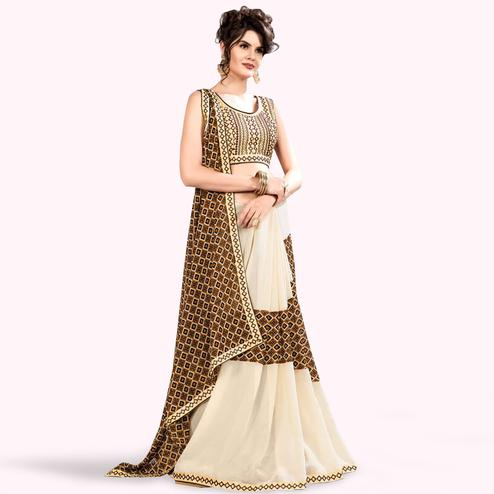 Pleasant Off White-Brown Colored Partywear Printed Georgette Saree