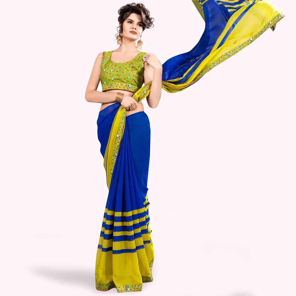 Energetic Blue-Green Colored Partywear Printed Georgette Saree