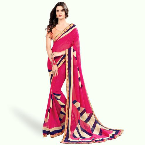 Imposing Pink Colored Partywear Printed Georgette Saree