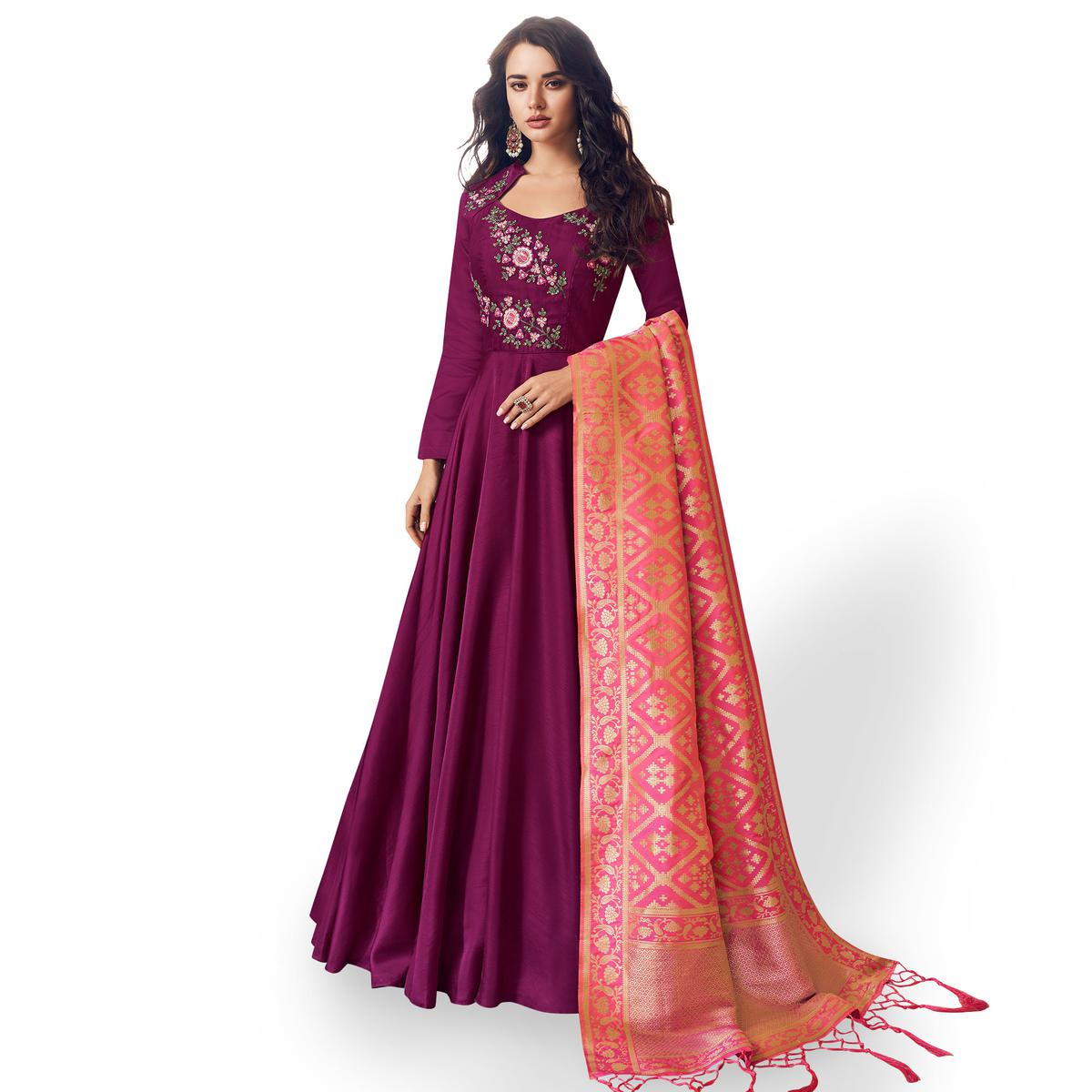 Attractive Purple Colored Partywear Embroidered Satin Anarkali Suit