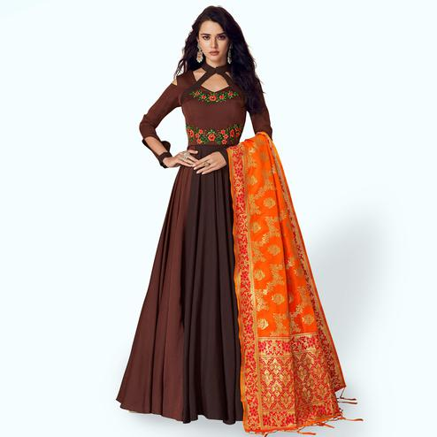 Beautiful Brown Colored Partywear Embroidered Satin Anarkali Suit