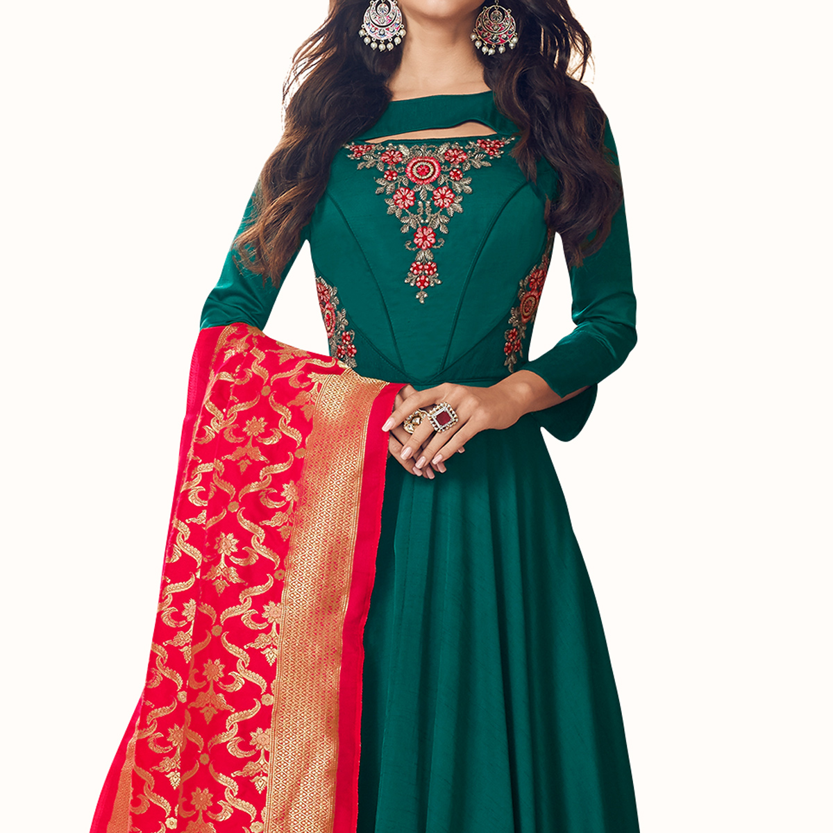 Graceful Teal Colored Partywear Embroidered Satin Anarkali Suit