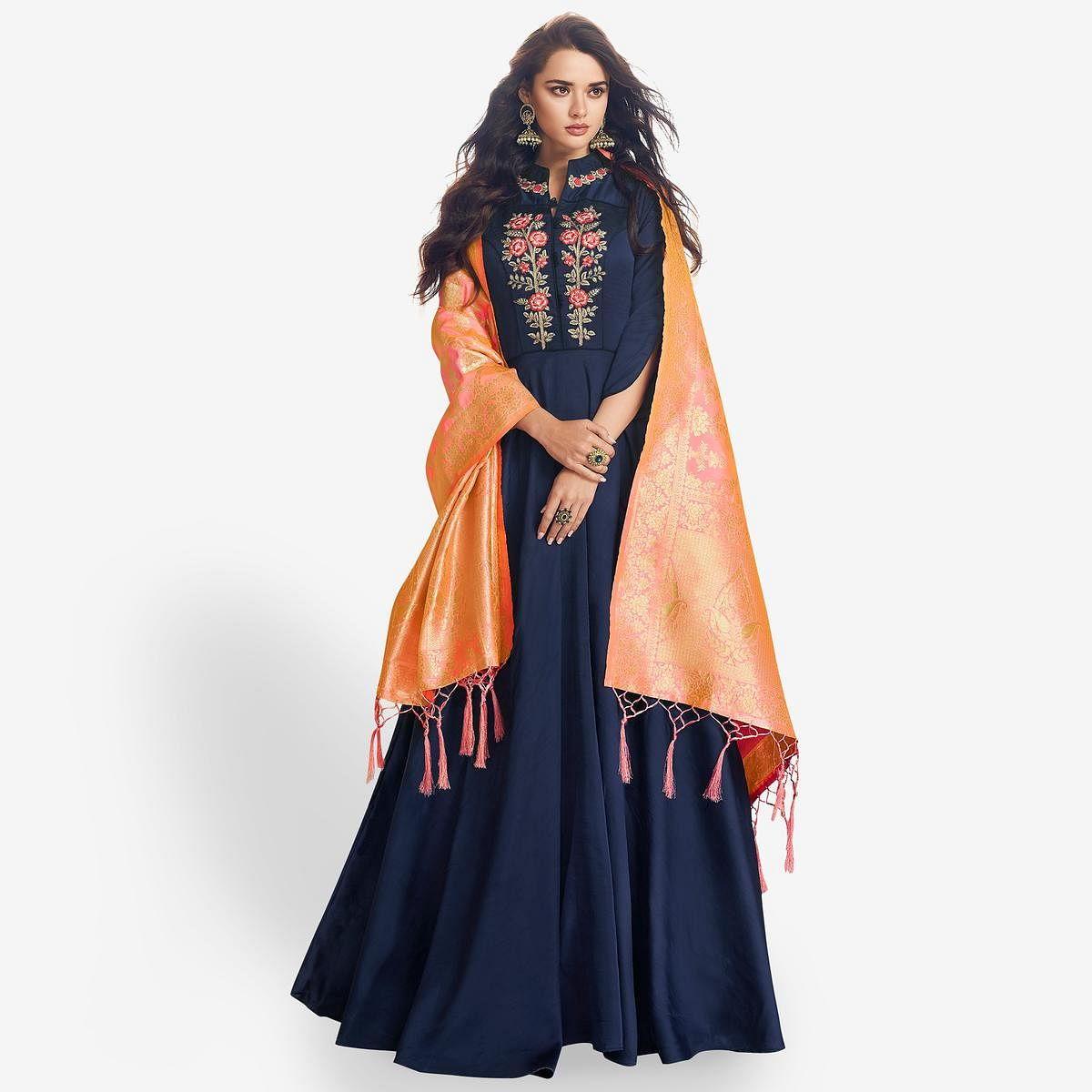 Blooming Navy Blue Colored Partywear Embroidered Satin Anarkali Suit