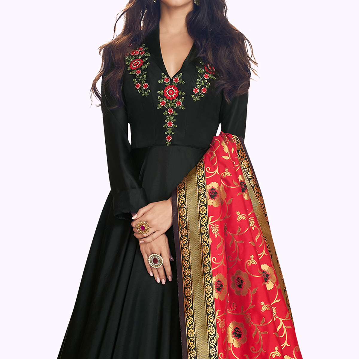 Appealing Black Colored Partywear Embroidered Satin Anarkali Suit